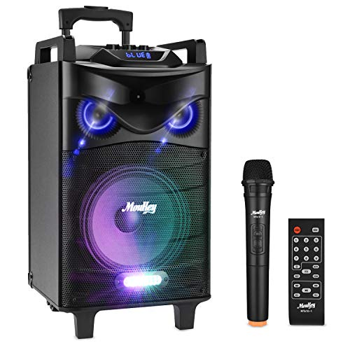Moukey Karaoke Machine,140 Watt Bluetooth Outdoor Portable Karaoke Speaker System-PA Stereo with 10' Subwoofer, DJ Lights,Rechargeable Battery, VHF Microphone, Recording, MP3/USB/TF/AUX