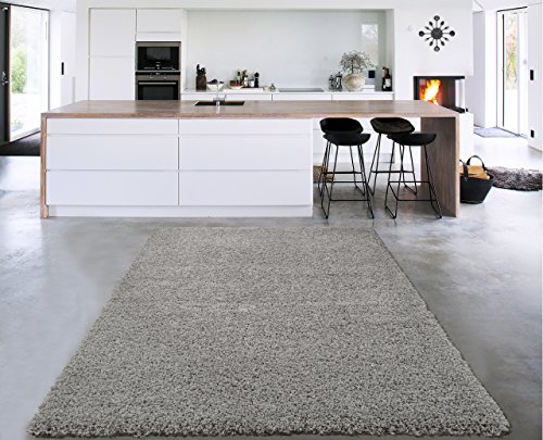 Sweet Home Stores Cozy Shag Collection Grey Solid Shag Rug (5'0' X 7'0') Contemporary Living and Bedroom Soft Shaggy Area Rug