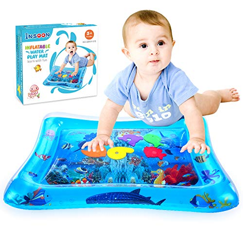 INSOON Tummy Time Water Play Mat Baby Summer Toys Infant Early Development Activity Center for 3 6 9 Months Girls and Boys