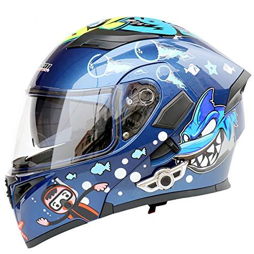 MOPHOTO Bluetooth Integrated Motorcycle Helmets, Anti-Glare Full Face Flip up Dual Visors Modular Bike Motorcross Helmets Intercom Helmet/Rider to Rider, Medium (57-58cm)