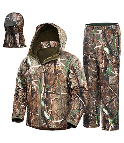 NEW VIEW 2020 Upgrade Hunting Clothes for Men,Silent Water Resistant Hunting Suits,Camo Hunting Camouflage Hooded Jacket,Hunting Pants (L, Camo Tree)