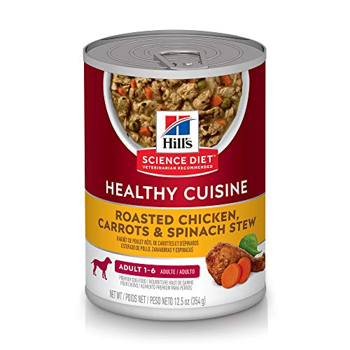 Hill's Science Diet Wet Dog Food, Adult, Healthy Cuisine, Roasted Chicken Carrots & Spinach, 12.5 oz Cans, 12 Pack