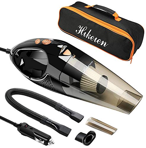 Hikeren Car Vacuum Cleaner, DC 12-Volt 106W Wet&Dry Handheld Auto Vacuum Cleaner, 16.4FT(5M) Power Cord with Stainless Steel HEPA Filter, One Carry Bag (Upgraded Version)
