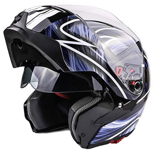 Typhoon Modular Motorcycle Helmet DOT Dual Visor Full Face Flip-up - (Blue/White Small)