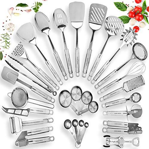 HOME HERO Stainless Steel Kitchen Utensil Set - 29 Cooking Utensils - Nonstick Kitchen Utensils Cookware Set with Spatula - Best Kitchen Gadgets Kitchen Tool Set Gift