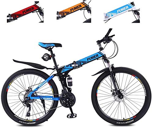 Road Bikes Mountain Bikes for Adults,Foldable MTB Ebikes for Men Women Ladies, All Terrain 24/26inch Mountain Bike ,Small Space Storage Folding Bicycle Comfortable Seats (Color : Black Blue, Size :