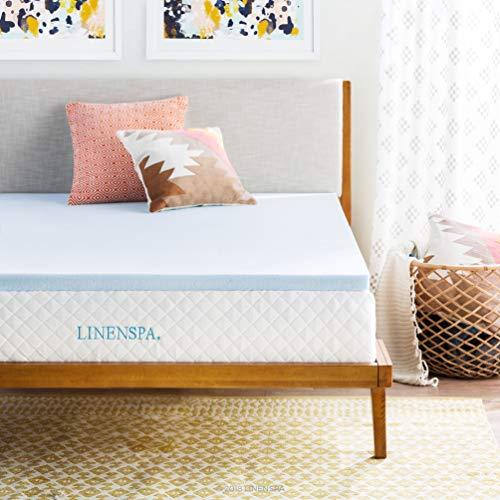 Linenspa 2 Inch Gel Infused Memory Foam Mattress Topper, Full, Blue