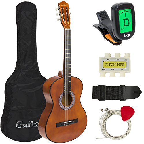 Best Choice Products 38in Beginner All Wood Acoustic Guitar Starter Kit w/Case, Strap, Digital Tuner, Pick, Strings - Brown