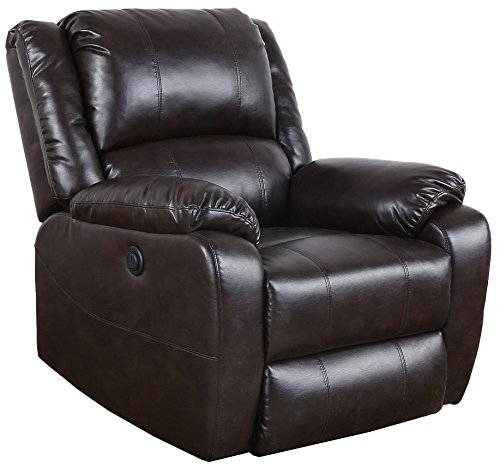 Romatlink EXP59 Madison Home Plush Bonded Leather Power Electric Reclining Living Room Chair, Brown/Grey