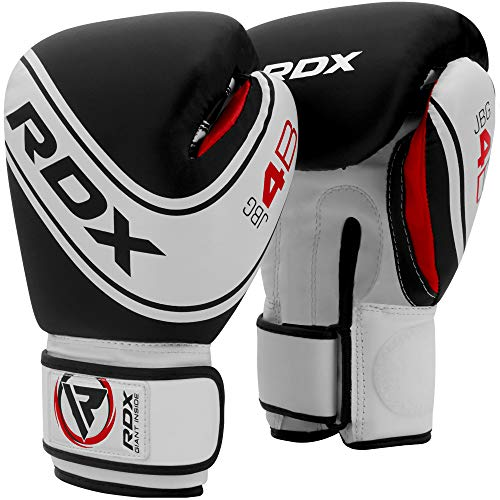 RDX Kids Boxing Gloves for Training and Muay Thai, Maya Hide Leather Junior 4oz, 6oz Mitts for Sparring, Fighting and Kickboxing, Good for Youth Punch Bag, Grappling Dummy and Focus Pads Punching