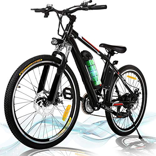 Kemanner 26 inch Electric Mountain Bike 21 Speed 36V 8A Lithium Battery Electric Bicycle for Adult (Black) (Black)