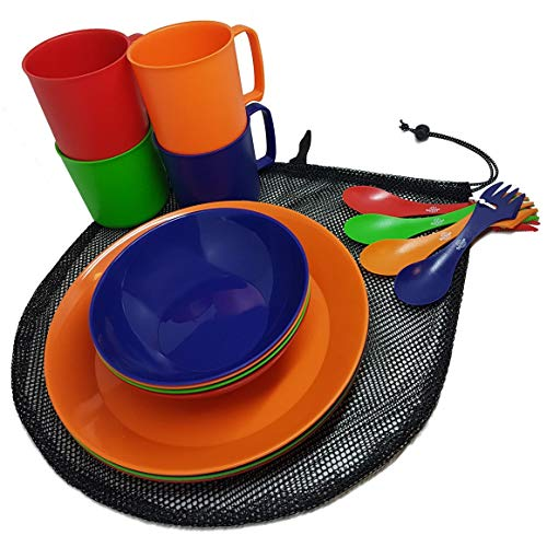 Camping Mess Kit 4 Person Dinnerware Set with Mesh Bag - Complete Dish Set Includes Plates, Bowls, Cups and Sporks - Perfect for Backpacking, Hiking, Picnic and Much More