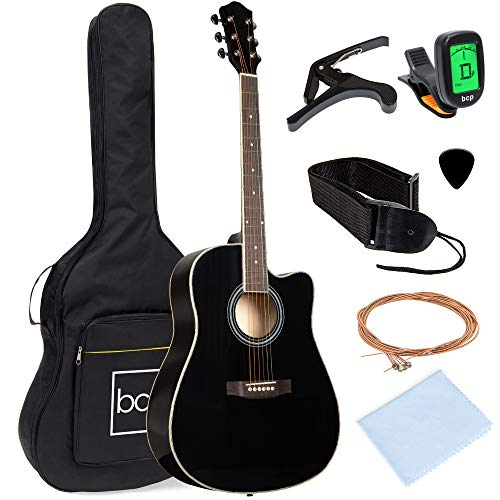 Best Choice Products 41in Full Size Beginner All Wood Cutaway Acoustic Guitar Starter Set with Case, Strap, Capo, Strings, Picks, Tuner - Black