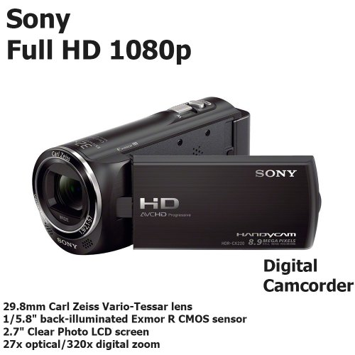 Sony Video Camera Handycam HDR-CX220 Carl Zeiss Full HD Camcorder