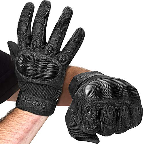 FREETOO Knuckle Tactical Gloves for Men Black Military Gloves for Shooting Airsoft Paintball Motorcycle Climbing and Heavy Duty Work (Medium)