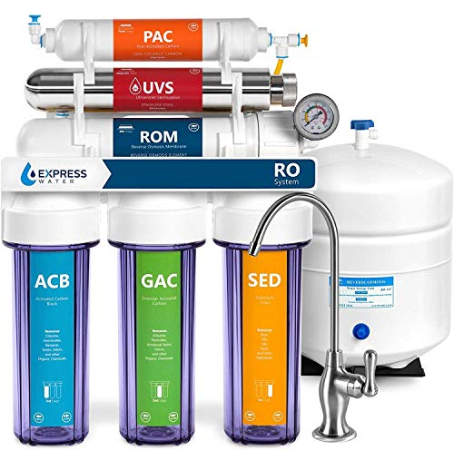 Express Water Ultraviolet Reverse Osmosis Water Filtration System – 6 Stage RO UV Water Sterilizer with Faucet and Tank – UV Under Sink Water Filter – 100 GPD with Clear Housing (ROUV10DCG)