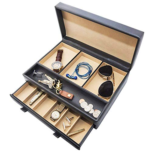 Stock Your Home Watch Box with Valet Drawer for Dresser - Mens Jewelry Box with Multiple Compartments - Jewelry Case Display Organizer for Mens Jewelry Watches, Men's Storage Boxes Holder