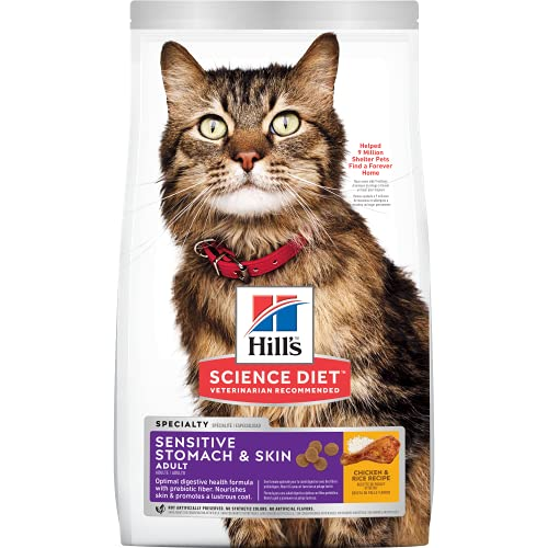 Hill's Science Diet Dry Cat Food, Adult, Sensitive Stomach & Skin, 7 LB