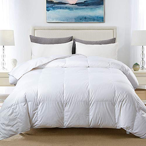 Cosybay 100% Cotton Quilted Down Comforter White Goose Duck Down and Feather Filling – All Season Duvet Insert or Stand-Alone – Queen Size (90×90 Inch)