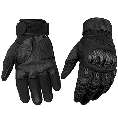 HOMEE Tactical Gloves Touch Screen Military Rubber Hard Knuckle Full Finger Gloves Fit for Motorcycle Cycling Airsoft Paintball Hiking Camping (Black, XL)