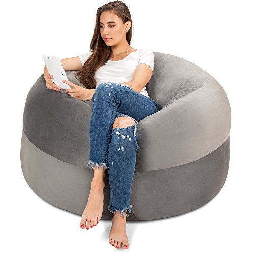 Panda Sleep 4FT Bean Bag Chair in Steel Grey - Big Velour Comfort Cover with Memory Foam Filler - Gigantic Bed, Large Sofa, Cozy Lounger, Chill Mattress - Kids, Adults & Teens Love This Huge Sack