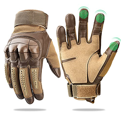 Touch Screen Leather Motorcycle Gloves for Men Women Riding Gloves for Driving Motorbike Off-Road Racing Gloves ATV Coyote X-Large