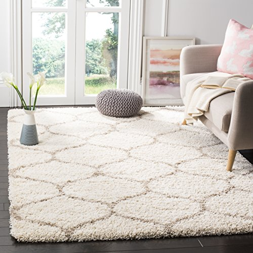 Safavieh Hudson Shag Collection SGH280D Moroccan Ogee 2-inch Thick Area Rug, 4' x 6', Ivory/Beige