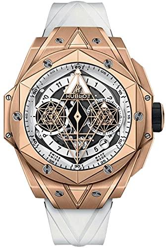 Hublot Big Bang White Sang Bleu II King Gold 45mm Skeleton Dial Watch