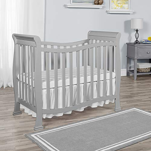 Dream On Me Violet Mini Crib in Pebble Grey, Greenguard Gold Certified
