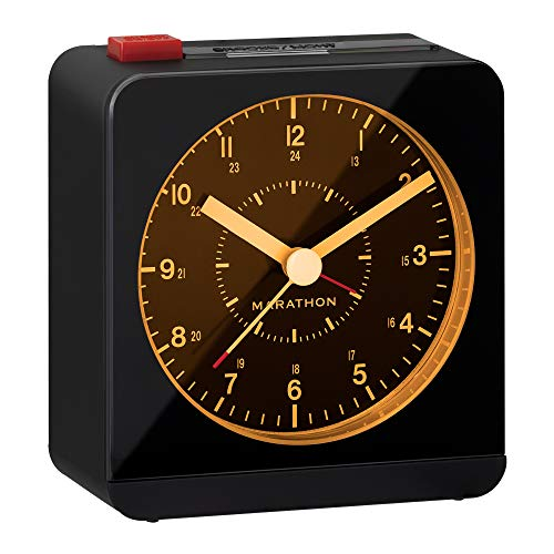 Marathon Silent Sweep Analog Alarm Clock with Warm Amber Auto Night Light and Repeating Snooze for Heavy Sleepers, Ideal for Bedside, Desk, and Travel/Batteries Included (Black Case/Black Dial)