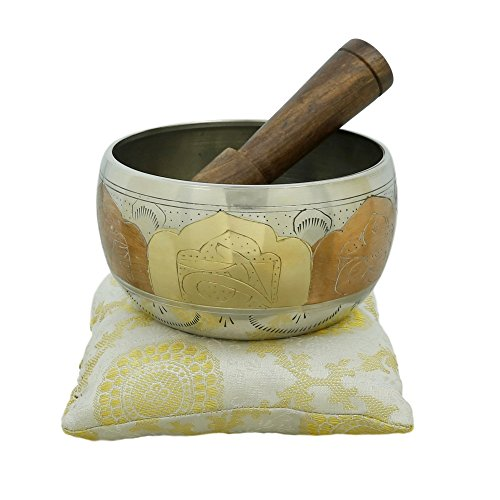 Tibetan Buddhist Small Singing Bowl with Cushion from India for Meditation Sound Healing Prayer Percussion Musical Instrument 4 Inch