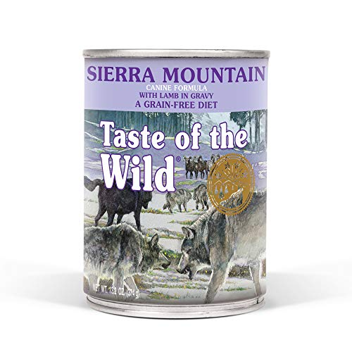 Taste of the Wild Sierra Mountain Grain-Free Canine Recipe with Lamb in Gravy Wet Canned Dog Food, Made with High Protein from Real Lamb and Guaranteed Nutrients 13.2oz, Case of 12