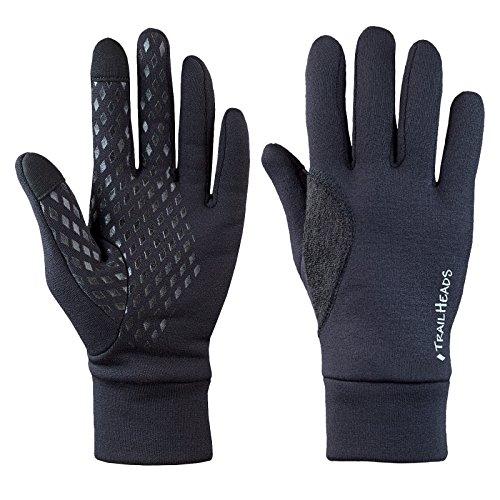 TrailHeads Men's Running Gloves - Black Touchscreen Gloves - Power Stretch Lightweight Gloves