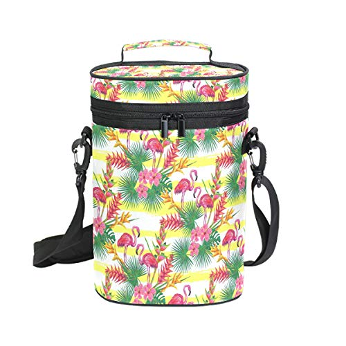 Insulated Wine Tote Carrier Tropical Flamingo Palm Flower 2 Bottle Wine Carry Cooler Tote Bag for Travel or Picnic, Perfect Wine Lover Gift