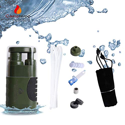 Portable Water Purifier Pump with Replaceable Carbon Water Filter,Water Filter Purifier Hand Operat Pump Purification System for Backpacking Survival Camping Hiking Emergency Disaster for Home&Outdoor