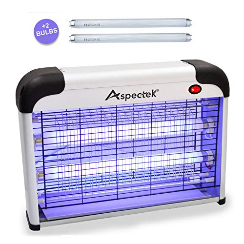 Aspectek Upgraded 20W Electronic Bug Zapper, Insect Killer - Mosquito, Fly, Moth, Wasp Killer for Indoor -Including 2 Pack Free Replacement Bulbs