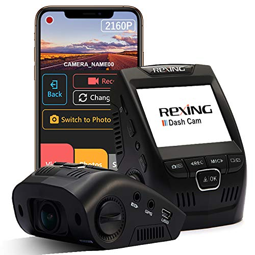 Rexing V1-4K Ultra HD Car Dash Cam 2.4' LCD Screen, Wi-Fi, 170° Wide Angle Dashboard Camera Recorder with G-Sensor, WDR, Loop Recording, Supercapacitor, Mobile App, 256GB Supported