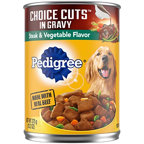 PEDIGREE CHOICE CUTS in Gravy Adult Canned Wet Dog Food Steak & Vegetable Flavor, 13.2 oz. Cans(Pack of 12)