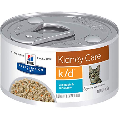 Hill's Prescription Diet k/d Kidney Care Vegetable, Tuna & Rice Stew Canned Cat Food, Veterinary Diet, 2.9 oz, 24-pack wet food