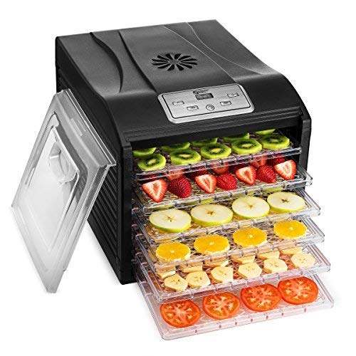 Magic Mill Food Dehydrator Machine - Easy Setup, Digital Adjustable Timer and Temperature Control | Dryer for Jerky, Herb, Meat, Beef, Fruit and To Dry Vegetables | Over Heat Protection | 6 tray