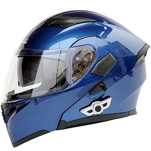 MOPHOTO Bluetooth Integrated Motorcycle Helmets, Anti-Glare Full Face Flip up Dual Visors Modular Bike Motorcross Helmets Intercom Helmet/Rider to Rider, Blue Medium (57-58cm)