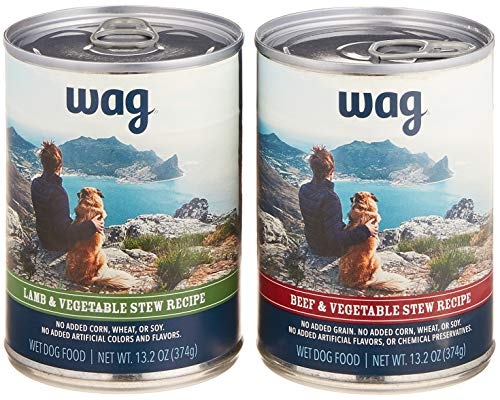 Amazon Brand - Wag Wet Canned Dog Food, Variety Pack Stew (Lamb, Beef), 13.2 oz Can (Pack of 6)