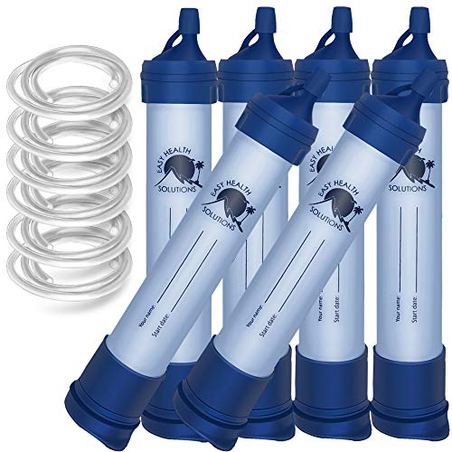 EHS Filter Water Straw, Survival, Portable Filtration Gear, Emergency kits, Supplies for Drinking, Hiking, Camping, Scouts, Hunting, Fishing, Family 6 Pack with 24 Inch Tubing Included