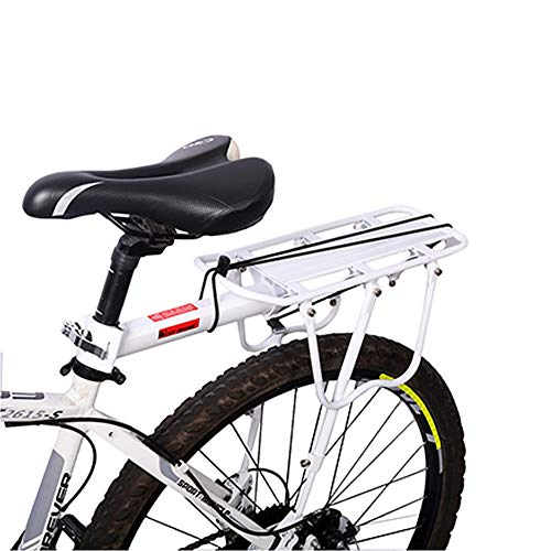 Enkrio Adjustable Bike Rear Cargo Rack Equipment Stand Footstock Bicycle Carrier Rack Bicycle Accessories Seat Post 110Lb Capacity (White)