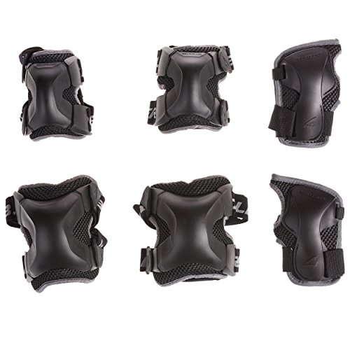 Rollerblade X Gear 3 Pack Protective Gear, Knee Pads, Elbow Pads and Wrist Guards, Inline Skating, Multi Sport Protection, Unisex, Black