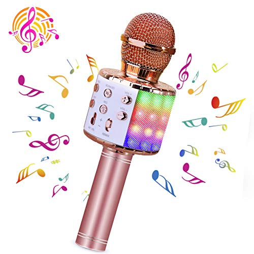 BlueFire Bluetooth 4 in 1 Karaoke Wireless Microphone with LED Lights, Portable Microphone for Kids, Girls, Boys and Adults (Pink)