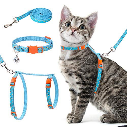 Mihachi Cat Harness with Leash Collar Set - Summer Style High Blue-Green with Cute Pineapple Pattern - Escape Proof and Adjustable for Walking