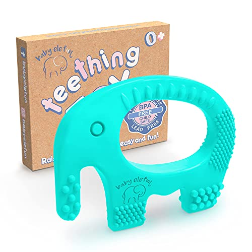 Baby Elefun Teething Toys, BPA Free Silicone Teethers - Easy to Hold - with Gift Christmas Stocking Stuffers Package, Highly Effective Elephant Teether Ring Toy for Babies 0-6 6-12 Months Boy or Girl