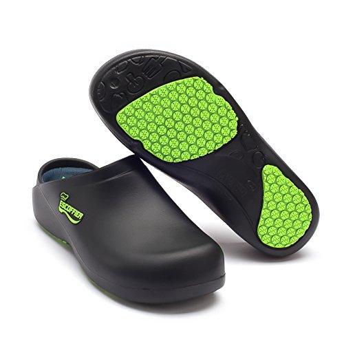 ESCOFFIER Waterproof Slip Resistant Kitchen Chef Clog - Non Slip Work Mule Shoes for Men Women, Black, 11 Women/9 Men