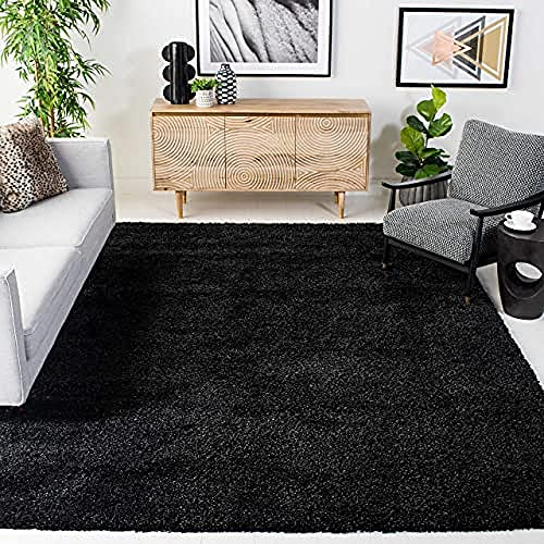 SAFAVIEH California Premium Shag Collection SG151 Non-Shedding Living Room Bedroom Dining Room Entryway Plush 2-inch Thick Area Rug, 6'7' x 9'6', Black